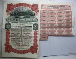 Action 1910 Brazil Railway Company Cent Dollars Avec Coupons - Chemin De Fer & Tramway