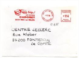 FAUNE + COQUILLAGE / HUITRE= 29 RIEC S/ BELON 1984 = EMA Illustrée  ´ EXIGEZ Les HUITRES CADORET´ - Marcophilie (Lettres)