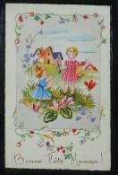 Litho Decor Art Nouveau Illustrateur BARNINI Fille Fillette Fete Maman Grandes Fleurs Cyclamen - Fête Des Mères