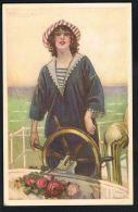 MAUZAN -Illustrateur - Jeune Femme Marin - Recto Vercso - Mauzan, L.A.