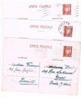 Carte Postale. Affranchissement PETAIN. Cachet  D24. BERGERAC.D75 PARIS. 1942 - Entiers Postaux