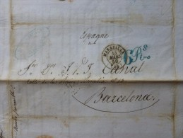 LETTRE MARSEILLE A BARCELONE 1850 TAXE 6 REALES - Postmark Collection (Covers)