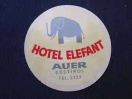 HOTEL GASTHOF SANATORIUM ELEPHANT ELEFANT AUER TIROL WIEN VIENNA AUSTRIA STICKER DECAL LUGGAGE LABEL ETIQUETTE AUFKLEBER - Hotelaufkleber