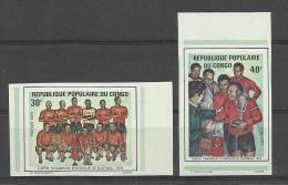 Foot Ball Soccer** MNH Mali Congo 375.376 Coupe Afrique 1974 Non Dentelé BDF - Africa Cup Of Nations