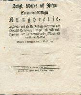 1823 Sweden Kungoreise Om Fribrev Vid Sjotullkammare Stockholm - Historical Documents