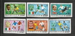 Foot Ball Soccer** MNH Fujeira Non Dentelé Coupe  Monde Mexico 1970 Pelé Charlton Beckenbauer Drapeaux - Coupe Du Monde