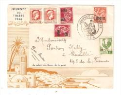 Algérie JOURNEE DU TIMBRE 1946 ALGER  2 Timbres 50c RF Postes Algérie -2timbre 0,50F Postes Algérie  1 Timbre 1F Algérie - Algérie (1924-1962)