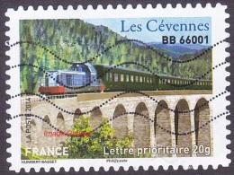 Oblitération Moderne Sur Autoadhésif De France N° 1006 Patrimoines - Train, BB66001 Les Cévennes - France
