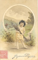 Alphabet Illustré - La Lettre O - Joyeuses Pâques - Jeune Fille Et Mouton - Autres