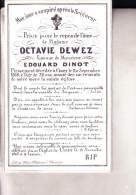 CINEY Octavie DEWEZ épouse Edouard DINOT 1840-1868 Souvenir Mortuaire Porcelaine - Décès