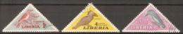 LIBERIA      -     OISEAUX  /  BIRDS  /  VOGELS .     . Oblitérés .  Triangles - Papegaaien, Parkieten