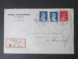 Türkei 1939 R-Brief Istanbul Taahhütlü R No 592. MiF Mit Rotem Und Blauem Stempel!! Romilos Vamvacopoulos - Covers & Documents