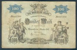 Deutschland, Germany, Badische Bank - 100 Mark,  ( Ro.: BAD 4 ) 1902 ! - [ 2] 1871-1918 : Imperio Alemán