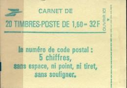 FRANCE CARNET NEUF 20 TIMBRES 2219 ( 1.60) TYPE LIBERTE De DELACROIX CODE POSTAL - Carnets