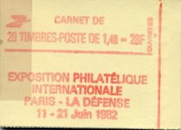 FRANCE CARNET NEUF 20 TIMBRES 2154 C1 ( 1.40) TYPE LIBERTE De DELACROIX PHILEXFRANCE 82 - Carnets