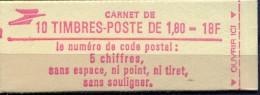 FRANCE CARNET NEUF 10 TIMBRES 2220 C5 ( 1.80) TYPE LIBERTE De DELACROIX CODE POSTAL - Carnets