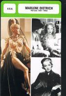 Marlène DIETRICH - Les Fiches De Monsieur CINEMA- U.S.A 1941/1964- Recto Verso- Paypal Free - Merchandising