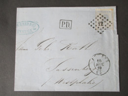 Belgien 1869 Nr. 15 EF. P.D. Anvers Nach Sassenberg. C. Schmid&Co. Geschäftsbrief. Rechnung. Papier Mit Wasserzeichen - 1865-1866 Profile Left