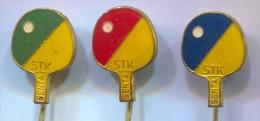Table Tennis, Tenis Di Tavolo Ping Pong - Club SENTA  Serbia,  Vintage Pin  Badge, 3 Pieces - Tischtennis