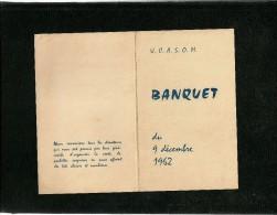 Menu Banquet UCASOM 9 Décembre 1962 Traiteur Gourmaud Paris 17 - Menú