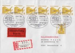 Bund Eilbote-R-Brief Mef Minr.7x 1380 SST Moers 9.12.88 Rollenmarken - BRD