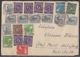 Gemeina. Brief Zehnfachfrankatur Berlin-Lichterfelde 28.6.48 - Gemeinschaftsausgaben