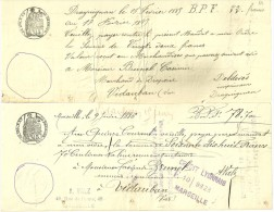 2 TRAITES MANUSCRITES  1883 Et 1886 Sur PAPIER FILIGRANE - TIMBRES SECS Et HUMIDES  -  Draguignan/ Marseille > Vidaub - Bills Of Exchange