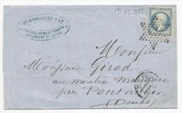 - Lettre - SEINE - PARIS-Etoile Muette S/TPND Bleu Laiteux N°14 + Càd Type 15 - 1855 - 1853-1860 Napoleone III