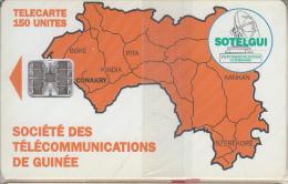 GUINEA - Orange Map 150 Units(reverse C), CN : C4C147904, Mint - Guinee