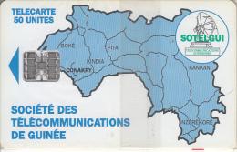 GUINEA - Blue Map 50 Units(reverse C), CN : C4C147902, Mint - Guinea