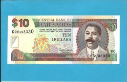 BARBADOS - 10 Dollars  - ND ( 2000 )  - P 62 - UNC -  Sign M. Williams  - 2 Scans - Barbados