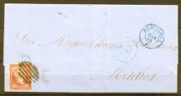 1856 , ED. 44, BARCELONA A MADRID, MAT. PARRILLA, FECHADORES DE BARCELONA Y MADRID EN AZUL. - Storia Postale