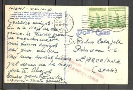 1941 , TARJETA POSTAL CIRCULADA ENTRE MIAMI Y BARCELONA, CENSURA GUBERNATIVA DE BARCELONA - 1931-Heute: 2. Rep. - ... Juan Carlos I