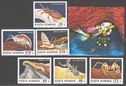 Romania 1993 Rumänien Mi 4942-4947 + Block 287(4948) Animals From Grotto Of Movile / Tiere Aus Der Grotte Von Movile MNH - Andere