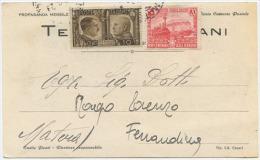 1941 CARTONCINO PUBBLICITÀ MILANO TENIFUGO FARMACIA VIOLANI CON FRATELLANZA C. 10 + FERROVIE C. 20 OTTIMA QUALITÀ (6618) - 1900-44 Vittorio Emanuele III