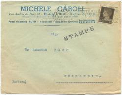 1936 IMPERIALE C. 10 ISOLATO BELLA BUSTA PUBBLICITÀ RICAMBI AUTO BARI E AL VERSO GOMME PIRELLI (A596) - 1900-44 Victor Emmanuel III