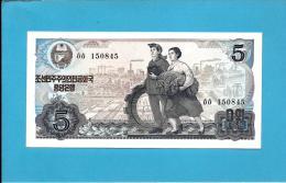 KOREA, NORTH - 5 WON - 1978 - P 19.b - UNC. - BLACK Serial # - GREEN Seal - For Socialist Visitors - 2 Scans - Corée Du Nord