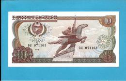 KOREA, NORTH - 10 WON - 1978 - P 20.e - UNC. - BLACK Serial # - Large Numeral 5 In BLUE Guilloche - 2 Scans - Korea, North