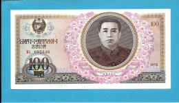 KOREA, NORTH - 100 WON - 1978 - P 22 - UNC. - RED Serial # - NO Seal - Kim II Sung - 2 Scans - Corée Du Nord