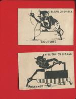 RARE IMAGES PAPIER EXPOSITION UNIVERSELLE 1878  AU BON DIABLE SILHOUETTE  MAGIE LEVY COUTURE PRESSAGE FER A REPASSER ? - Non Classés