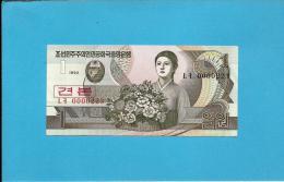 KOREA, NORTH - 1 WON - 1992 - P 39.s - UNC. - SPECIMEN - 0000223 - Low Number - 2 Scans - Korea, North