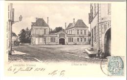 Lencloître (Châtellerault-Vienne)1904-L'Hôtel De Ville-vers La Gare De Berthegon-oblitération-beau Cachet Perlé-( Scan) - Lencloitre