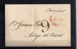 1844 , CARTA COMPLETA CIRCULADA ENTRE SEVILLA Y ARROYO DEL PUERCO, BAEZA Y PORTEO - ...-1850 Voorfilatelie