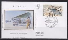 = Biplan Potez 25 Enveloppe 1er Jour Evreux 13.7.98 N°PA62 Avion En Vol Et Au Sol Illustration Gouache De Paul Lengellé - 1990-1999