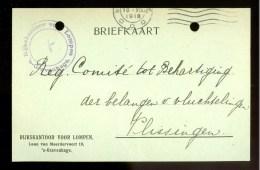 WW-1 * HANDGESCHREVEN BRIEFKAART COMITE VLUCHTELINGEN Uit 1918 Van DEN HAAG Naar VLISSINGEN * (9816p) - Periode 1891-1948 (Wilhelmina)