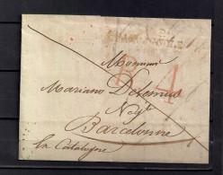 1819 CARTA COMPLETA CIRCULADA ENTRE CHAMPAGNOLE Y BARCELONA, INTERESANTE PIEZA. - 1801-1848: Precursores XIX