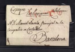1821 CARTA COMPLETA CIRCULADA ENTRE PARIS Y BARCELONA, VIA PERPIGNAN , INTERESANTE PIEZA. - 1801-1848: Precursores XIX