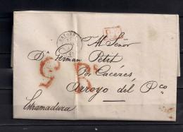 1842 , CARTA COMPLETA CIRCULADA ENTRE BAYONA ( BAYONNE ) Y ARROYO DEL PUERCO, FECHADOR, PORTEOS - 1801-1848: Precursores XIX