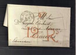 1835 , CARTA COMPLETA CIRCULADA ENTRE BAYONA ( BAYONNE ) Y CÁCERES, FECHADOR, PORTEOS - 1801-1848: Voorlopers XIX