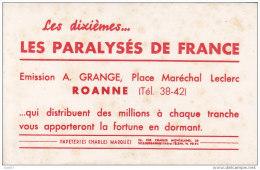 """BUVARD  Réf-ww-P-916 ( Avec PUB )   """"  LES  PARALYSES  DE FRANCE  """" Emission A.Grange,Place Maréchal Leclec à ROANNE - Autres"""